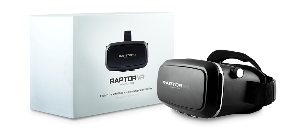 packaging of virtual reality headset with virtual reality headset on side